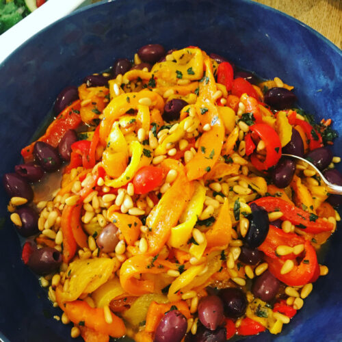 Spiced roasted peppers with pine nuts